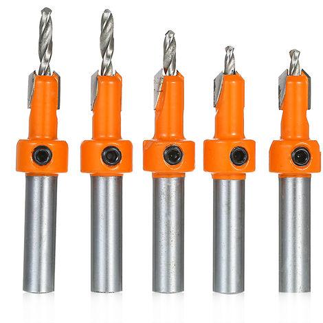 5pcs Countersink Drill Bit Woodworking Screws Chamfering Wood Hole Drills Bit