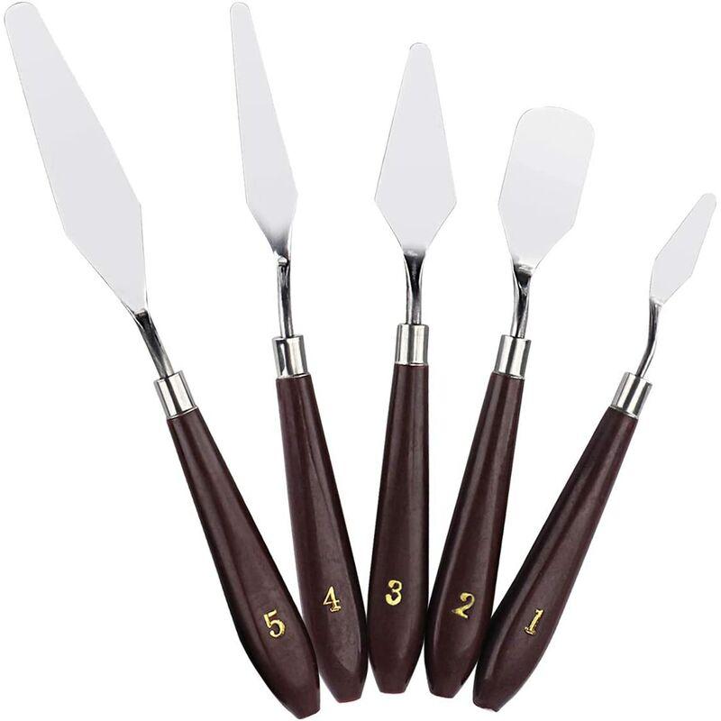 Bares - 5PCS Couteau à palette Peinture À L'huile en Acier Inoxydable, Palette Couteaux Set, Peinture Grattoir, Peinture Couteau Spatule Couteau