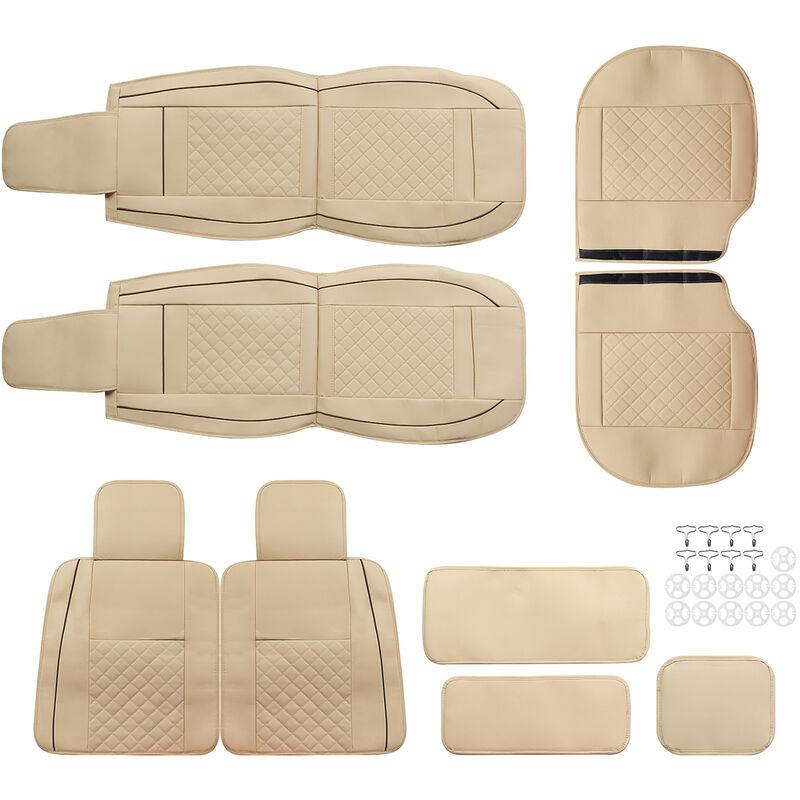 5PCS Couvertures en cuir de voiture Couvre-siège auto Housse de siège Beige