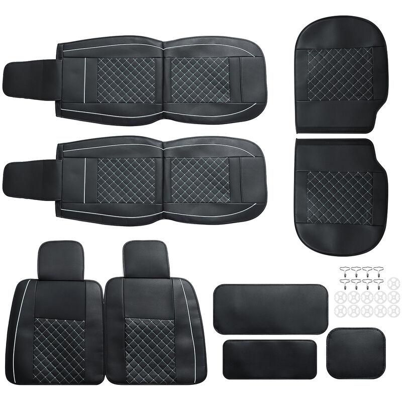 5PCS Couvertures en cuir de voiture Couvre-siège auto Housse de siège Beige Noir