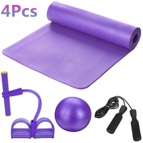 5Pcs Ensemble de Tapis de Yoga Pédale Tension Corde Pilates Ball Exercice Fitness Gym Workout