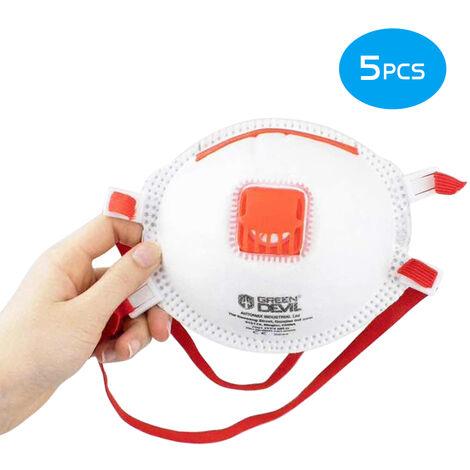 5Pcs Ffp3 Masques Visage Anti Poussieres Respirables 4-Ply 99% Filtration Masques De Protection Respiratoire Masques De Protection Sanitaire