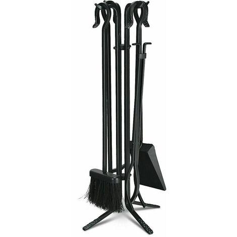 """main image of """"5pcs Fire Companion Set Brush Shovel Tong Poker Black Fireside Fireplace Tools"""""""