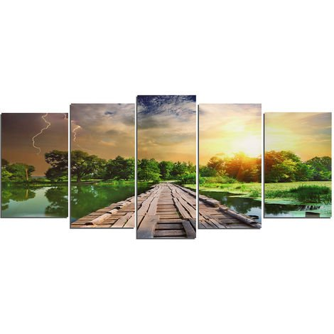 5Pcs HD Wooden Bridge Painting Abstract Oil Painting Modern Art Wall Decor