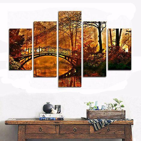 5pcs lienzo pintura forma puente otoño decoración hogar pared Sasicare