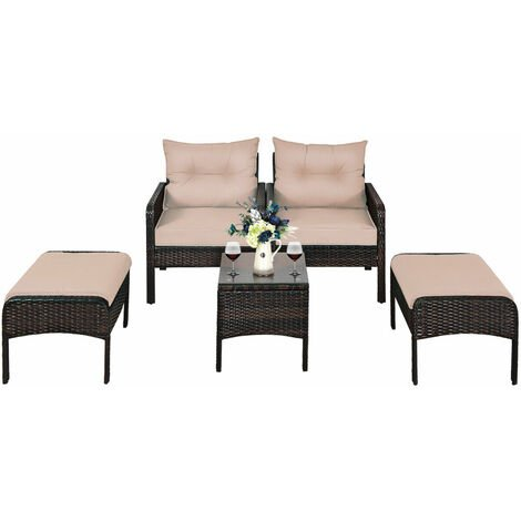 """main image of """"5PCS Rattan Garden Furniture Set 4-Seater Cushioned Sofa Chair W/ Glass Table"""""""