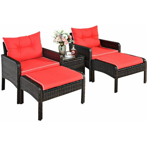 """main image of """"5PCS Rattan Wicker Garden Furniture Set Chairs Ottoman Coffee Table Red Cushion"""""""
