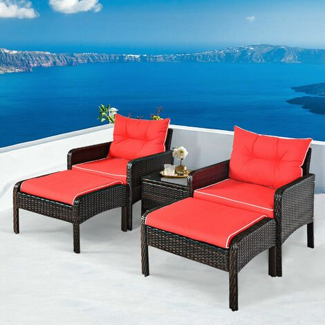 5PCS Rattan Wicker Garden Furniture Set Chairs Ottoman Coffee Table Red Cushion