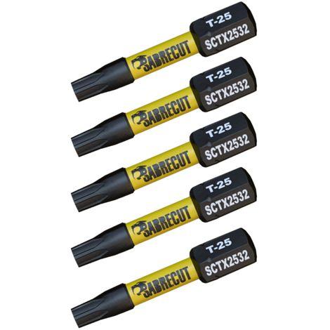 "main image of ""5pcs SabreCut 32mm T-25 Impact Drill Driver Bits - SCTX2532_5"""