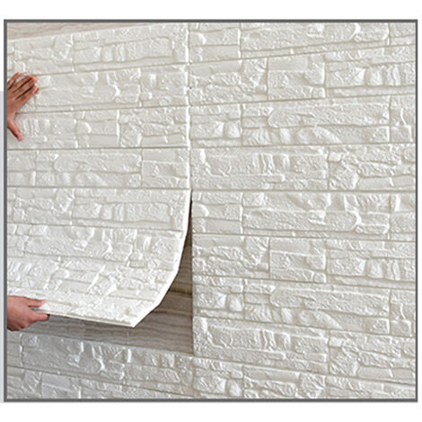 5PCS Set Autocollant Mural Brique de tuile 3D , 70x70cm Auto-Adhesif DIY Panneau en Mousse Blanc