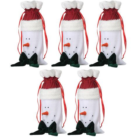 5pcs / set de Navidad dulces Bolsas de papel de regalo Pocekts Bolsas X'mas Decoraciones Adornos - muneco de nieve