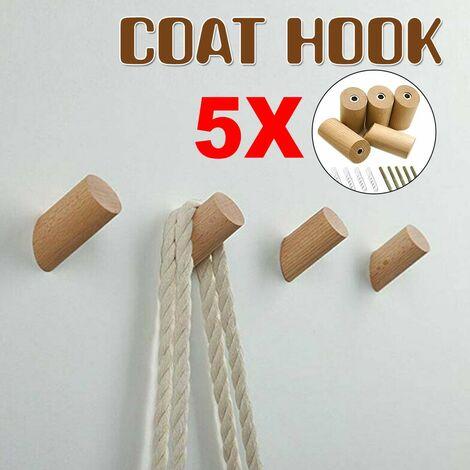 5pcs Solid Natural Wood Wall Mounted Coat Rack Hook Peg Hallway Hanger (30x60mm)