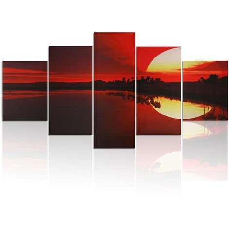5Pcs Table Oil Painting Canvas Sunset Modern Art Decor Wall