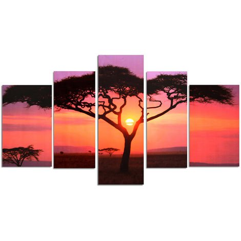 5Pcs Tree Table Oil Painting Abstract Canvas Pr Mural Living Room Bedroom Decor