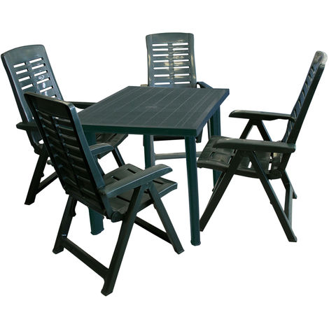 5tlg Bistrogarnitur Gartentisch, Sonnenschirmöffnung, 80x75cm + 2x Gartenstuhl Yuma, Klappstuhl, Kunststoff Campingstuhl - Grün