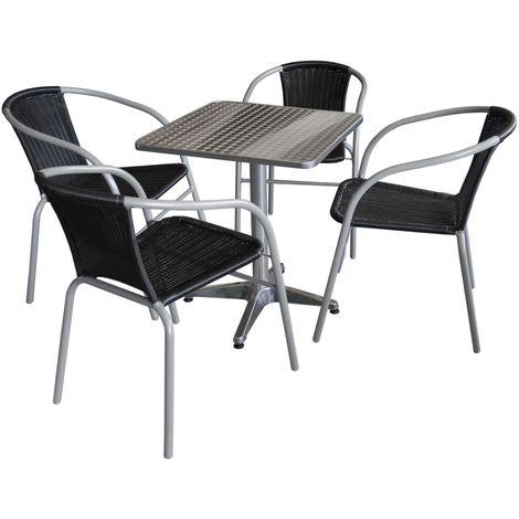 5tlg. Gartengarnitur Bistrotisch, 60x60cm, Aluminium + 4x Bistrostuhl, Polyrattanbespannung in Schwarz / Sitzgruppe Campingmöbel Gartenmöbel Set Sitzgarnitur