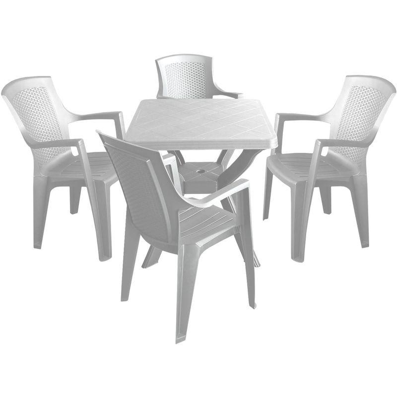 5tlg. Gartengarnitur Gartentisch 70x70cm + 4x Gartenstuhl stapelbar Vollkunststoff Weiss Sitzgarnitur Sitzgruppe Set Balkonmöbel - MULTISTORE 2002