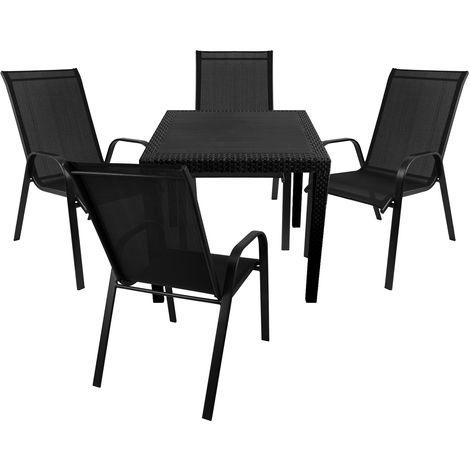 5tlg Gartenmöbel Set Gartentisch In Rattan Optik 79x79cm Kunststoff