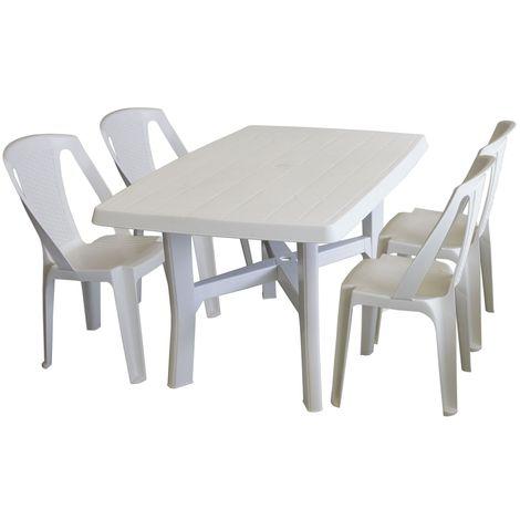 5tlg Gartenmöbel Set Kunststoff Weiß Gartentisch