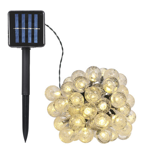 5W 17Meters/ 55.8Ft 100LEDs Solar Powered Energy Ball Outdoor String Light Lawn Lamp