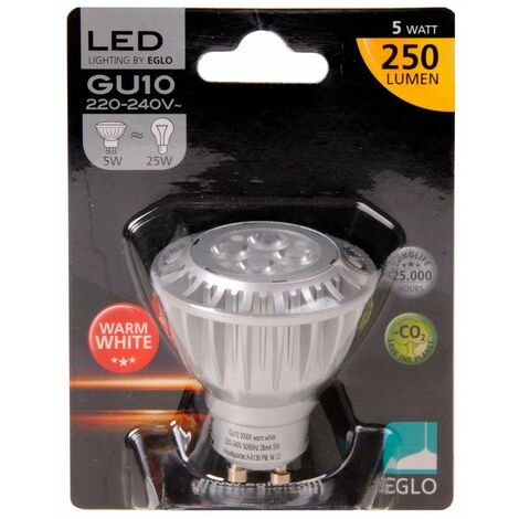 5W GU10 LED bulbo 250LM 3000K caliente Eglo blanco 11192
