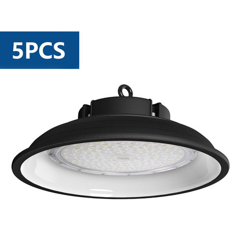 5X 150w Campana LED Industrial, 6000K UFO Led Lámpara de Alta Bahía, Iluminación Luces para Almacén Comercial Industrial (IP65, 13000Lm)