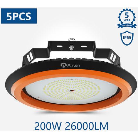 5X 200W UFO LED Alta Bahía Luz, 26000Lm Lámpara LED de Alta Bahía Industrial Iluminación para Almacén Comercial (IP65, 6000K)