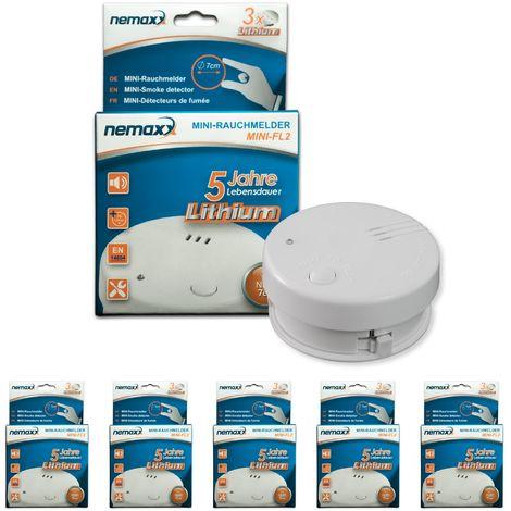 5x detector de humo Nemaxx Mini-FL2 Mini Detector de Fuego y humo detector con batería de litio de acuerdo con la norma DIN EN 14604