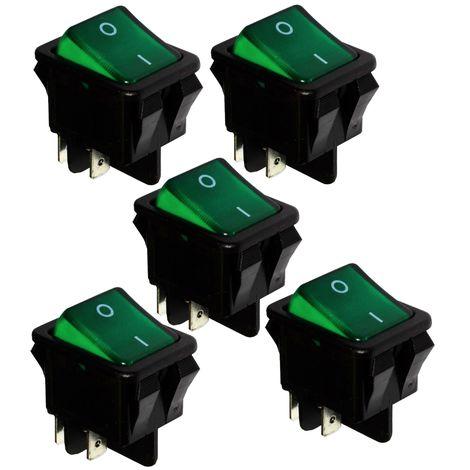 5x Interrupteur commutateur contacteur bouton à bascule DPST ON-OFF 16A/250V 2 positions vert