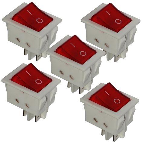 Interrupteur commutateur contacteur bouton /à bascule vert DPST ON-OFF 16A//250V 2 positions AERZETIX