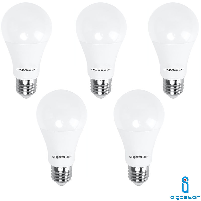 5x LAMPADINA LED E27 17W 6400K BIANCO FREDDO A60 A+ 1360LM 280° FASCIO AMPIO AIGOSTAR A5