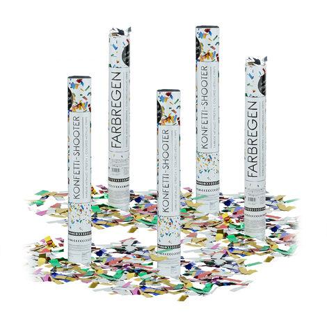 5x Lanceurs confettis 40 cm canons party popper plusieurs couleurs fête décoration mariage cadeau anniversaire portée 6-8 m, plusieurs couleurs métalliques