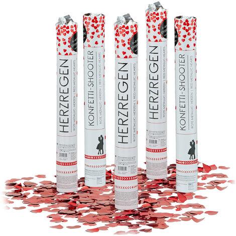5x Lanceurs confettis coeurs rouges 40 cm canons party popper fête décoration mariage cadeau anniversaire portée 6-8 m, rouge métallique