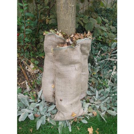 5x Large Natural jute compostable leaf sacks for composting leaves hessian bag