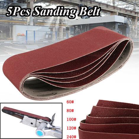 5x Lijado Abrasivo Cinturón 75x457mm Lijadora Papel de lija Pulido 60-240 Grano