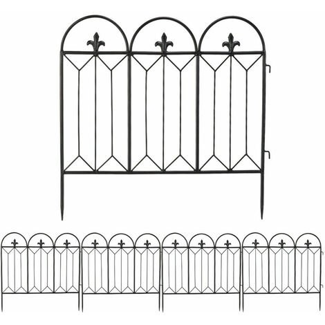 """main image of """"5x Metal Garden Fence Panel Gate Powder Coated Rustproof Outdoor Lawn Stake Edge"""""""