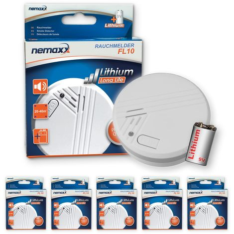 5x Nemaxx FL10 detector de humo con batería de litio de 10 años , Alarma de seguridad contra incendios - de acuerdo a la norma DIN EN 14604
