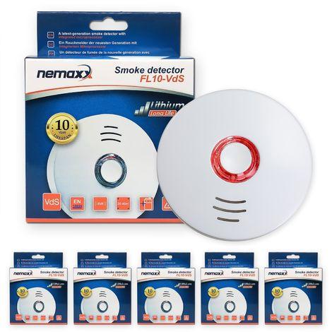 5x Nemaxx FL10VdS - VDS Detector de humo/ Alarma - Vds certificado EN 14604 con pila de de lítio incluida de larga duración - 10 años de vida - blanco