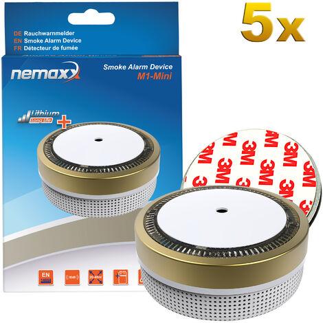 5x Nemaxx M1-Mini Rauchmelder goldfarben - fotoelektrischer Rauchwarnmelder nach neuestem VdS Standard mit Lithiumbatterie Typ DC3V und DIN EN14604 + 5x Nemaxx Magnethalterung