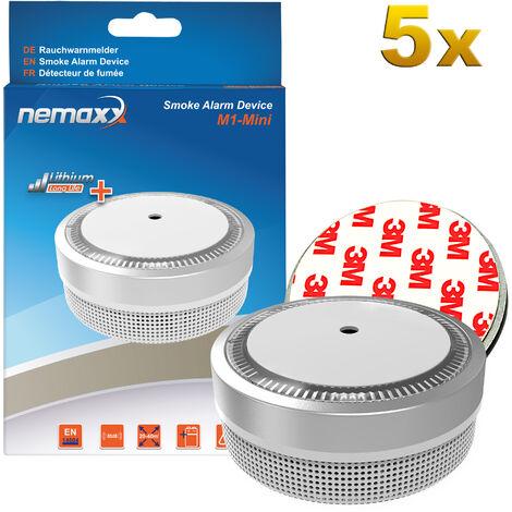 5x Nemaxx M1-Mini Rauchmelder silberfarben - fotoelektrischer Rauchwarnmelder nach neuestem VdS Standard mit Lithiumbatterie Typ DC3V nach DIN EN14604 + 5x Nemaxx Magnethalterung