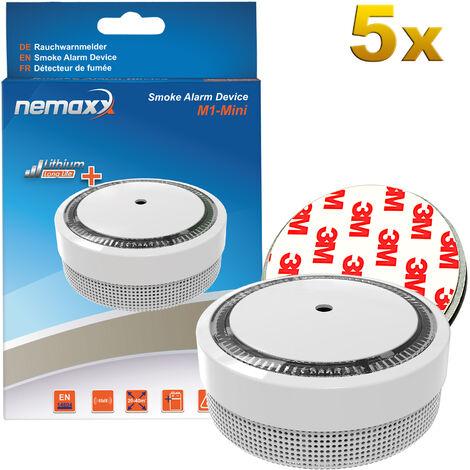 5x Nemaxx M1-Mini Rauchmelder weiß - fotoelektrischer Rauchwarnmelder nach neuestem VdS Standard mit Lithiumbatterie Typ DC3V nach DIN EN14604 + 5x Nemaxx Magnethalterung