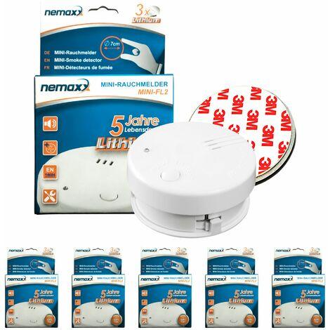 5x Nemaxx Mini-FL2 Rauchmelder - hochwertiger & diskreter Mini Brandmelder Feuermelder Rauchwarnmelder mit Lithium Batterie - nach DIN EN 14604 + 5x Nemaxx Magnetbefestigung
