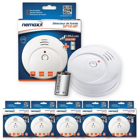 5x Nemaxx SP détecteurs de fumée durable avec 10 ans pile au lithium 9V - DIN EN 14604 : 2005/AC : 2008 certifié