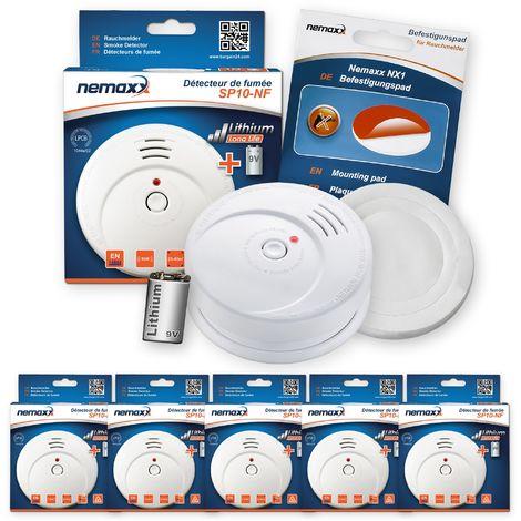 5x Nemaxx SP détecteurs de fumée durable avec 10 ans pile au lithium 9V - DIN EN 14604 : 2005/AC : 2008 certifié + NX1 patin de fixation auto-adhésive