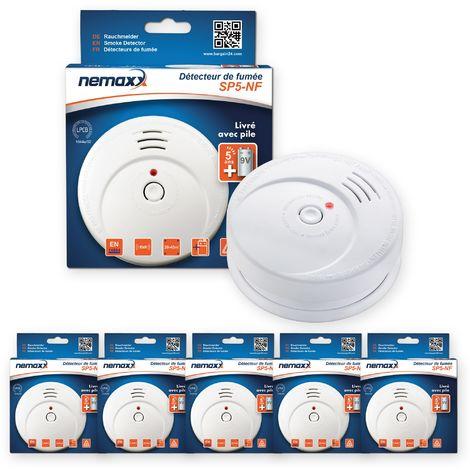 5x Nemaxx SP5-NF Detector de humo de alta calidad con pila incluida de 9V - Blanco