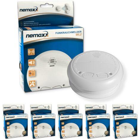 5x Nemaxx WL2 Détecteurs de fumée sans fil - conforme EN 14604