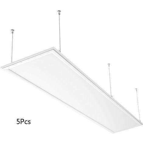 5X Panel LED 120×30cm - 40W Equivalente a 150W, 2800 lúmenes Pantallas LED de Techo, Color Blanco Neutro (4000-4500K), Plafón LED Interior/Oficina