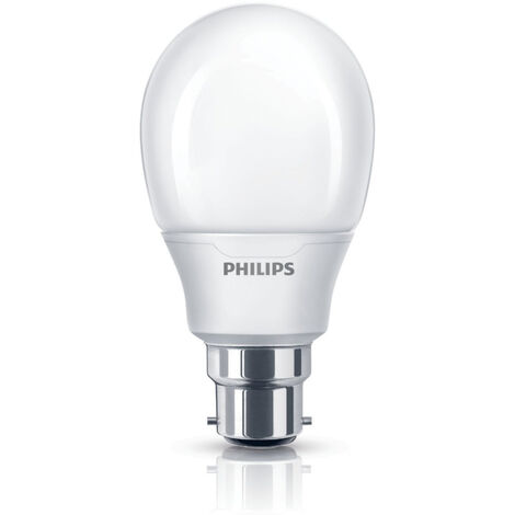 5x Philips Softone Warm White Fluorescent 8W (38W Equiv) B22 Bayonet Light Bulb