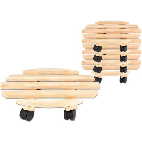 5x Rolluntersetzer Pflanzroller 35 cm - Max. 100 kg Traglast - Aus Buchenholz - Stabil & robust - Für Pflanztöpfe, Möbel & schwere Gegenstände -