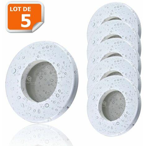 5X Spots LED Encastrables Blanc Etanche IP44 Pour Salle de Bain Blanc Chaud